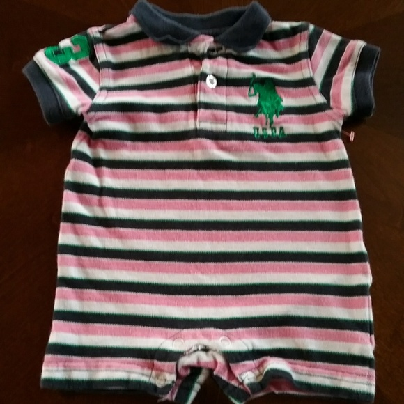 Euc Us Polo Assn Baby Girl Romper In A Size 3 To 6 Poshmark
